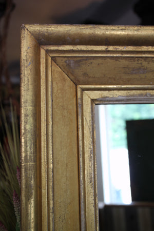 Vintage Gold Gilded Mirror with Industrial House Jack Base