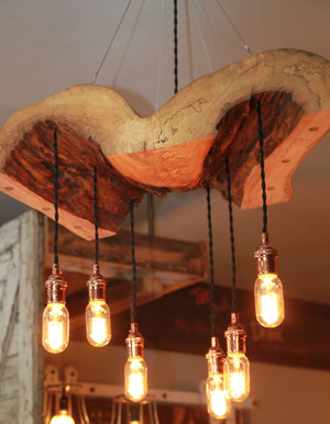 Live Edge Log Light, reclaimed wood