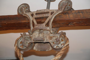 Vintage Hay Trolley Light, Original with authentic barn rope