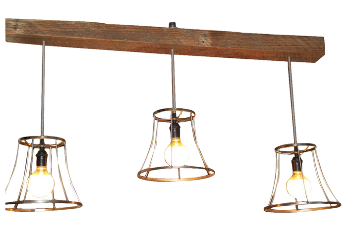 Vintage Shades on a Reclaimed Wood Beam Light Chandelier