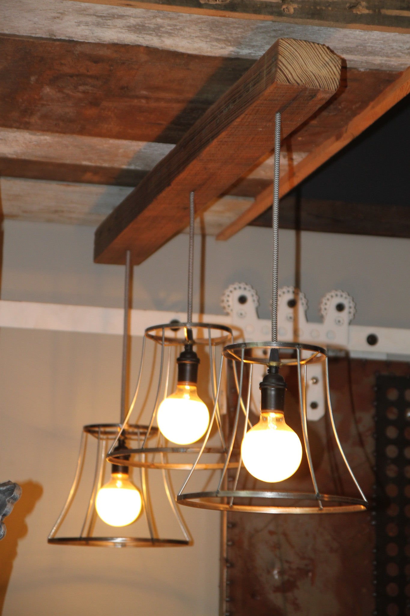 Vintage Shades on a Reclaimed Wood Beam Light Chandelier Funk & Junk