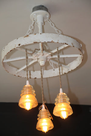 Vintage White Barn Wheel Chandelier