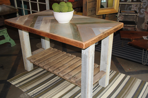 Reclaimed Barn Wood Chevron Table or Island, using Annie Sloan Chalk Paint