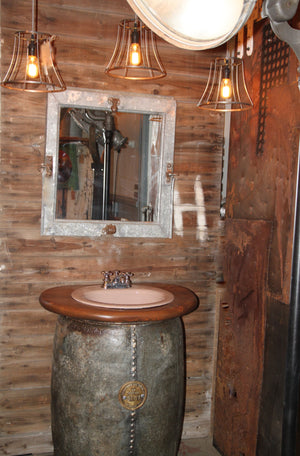 Vintage Industrial Standard Oil Barrel Bathroom Vanity