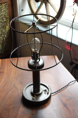 Industrial Gear Lamp, reclaimed antique lamp shade