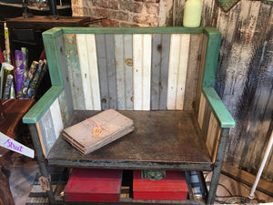 Industrial Rolling Cart Bench, reclaimed tongue & groove panels
