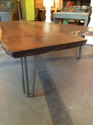 "Live-edge walnut ""Crotch"" with hairpin legs"