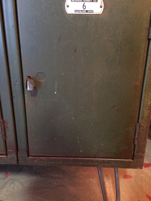 Vintage Metal Lockers with Reclaimed Wood Top