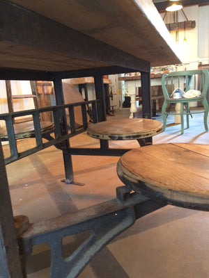 Original Reclaimed Cafeteria Table with Swivel Seats