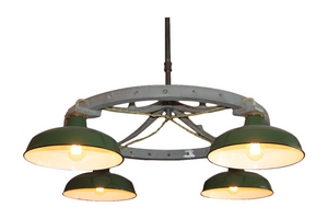 Industrial Green Porcelian Shade Chandelier, Original