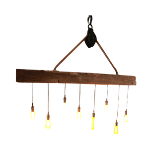 Reclaimed Barn wood - Beam Chandelier with 8 Edison bulbs