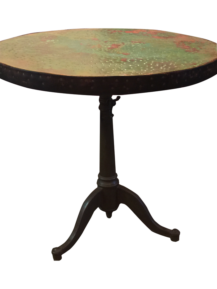 Hand Hammered Copper Table, vintage reclaimed cast iron base