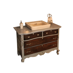 Reclaimed Bathroom Vanity with 1950s cast iron Kohler sink, finished in Annie Sloan Chalk Paint