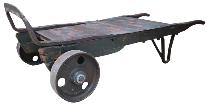 Rustic and Industrial Hand Truck Coffee Table