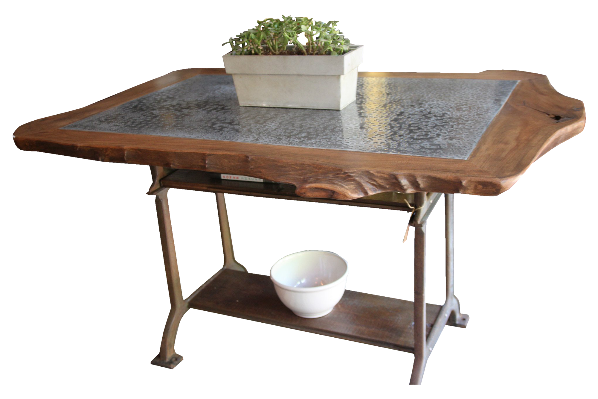 Live Edge Sycamore and Hammered Zinc Table with Industrial Machine