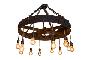 Chandelier made from an antique Farm Implement Wheel