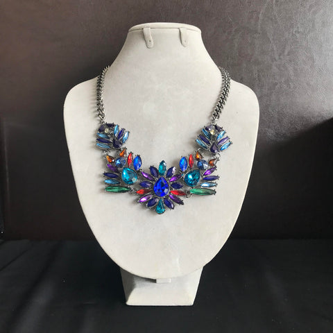 Faux Gemstone Statement Necklace in Dawn