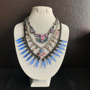 Aztec Statement Necklace  in Blue