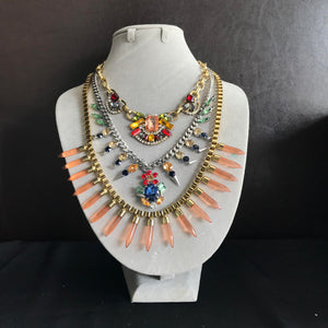Aztec Statement Necklace in Tangerine