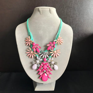 Mixed Jewel Necklace in Pink