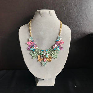 Metal Lace Necklace with Jewels in Pastels