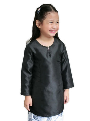 Petite Kurung Pahang Top in Black