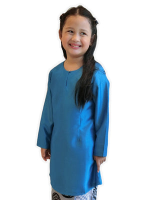 Petite Kurung Pahang Top in Blue