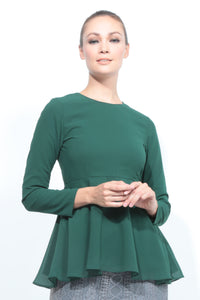 Basic Peplum Top in Emerald Green