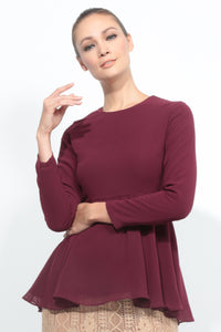 Basic Peplum Top in Maroon