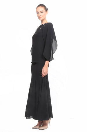 Batwing Chiffon Top with Skirt in Black