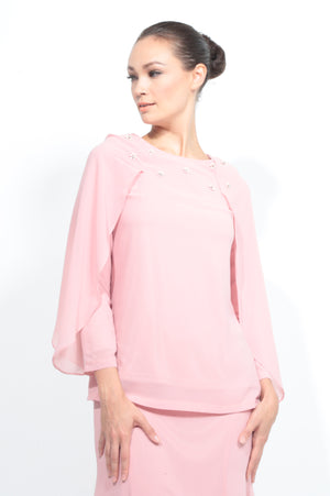 Batwing Chiffon Top with Skirt in Dusty Pink
