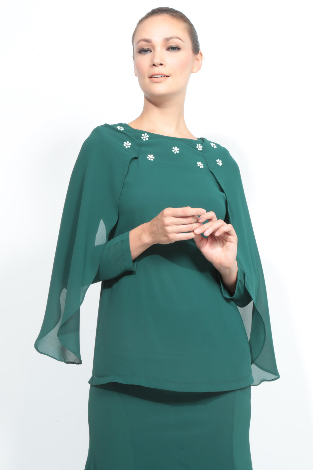Batwing Chiffon Top with Skirt in Emerald Green
