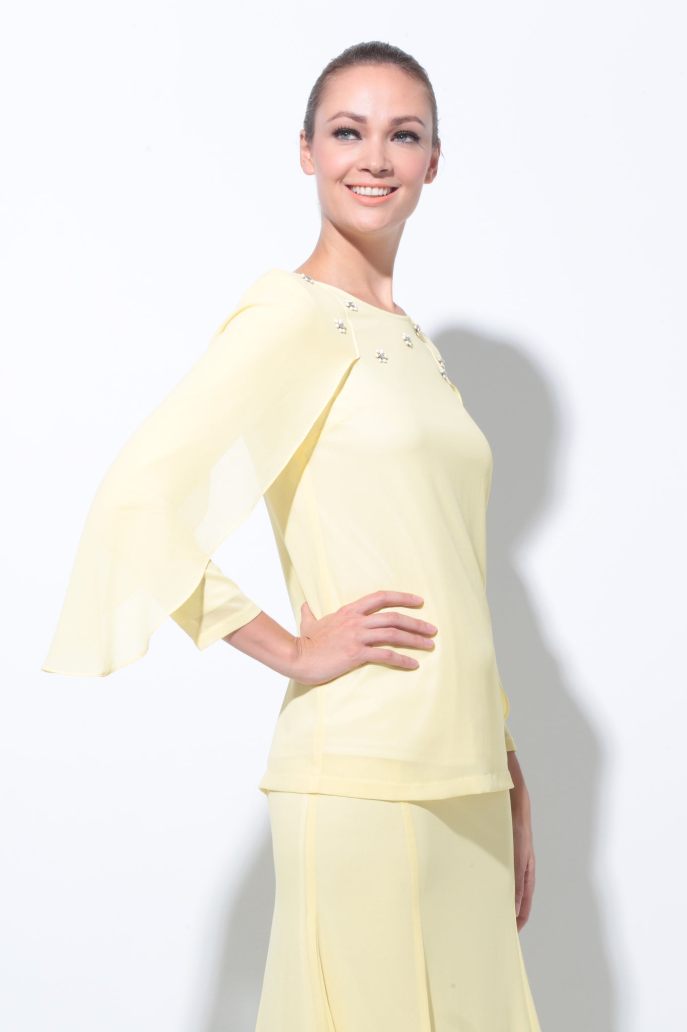 Batwing Chiffon Top with Skirt in Light Yellow