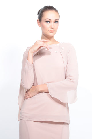 Batwing Chiffon Top with Skirt in Nude