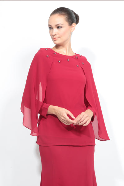 Batwing Chiffon Top with Skirt in Red