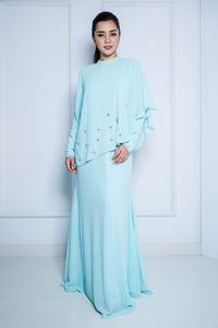 Chiffon Dress with Midi Drape in Baby Blue