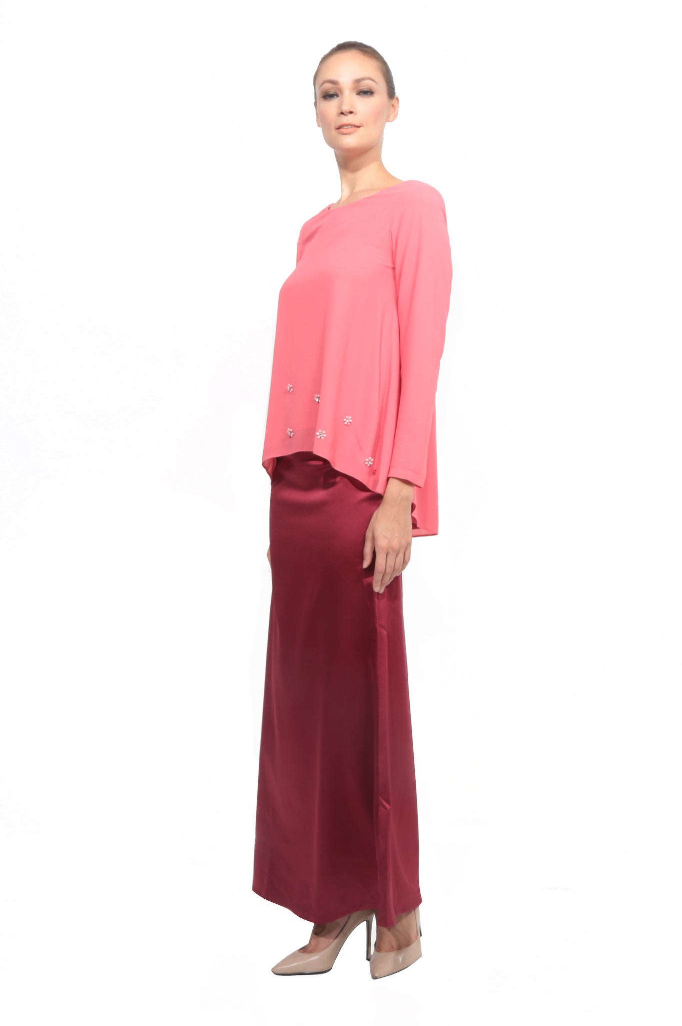 Chiffon Baju Kurung in Cherry Rose Pink