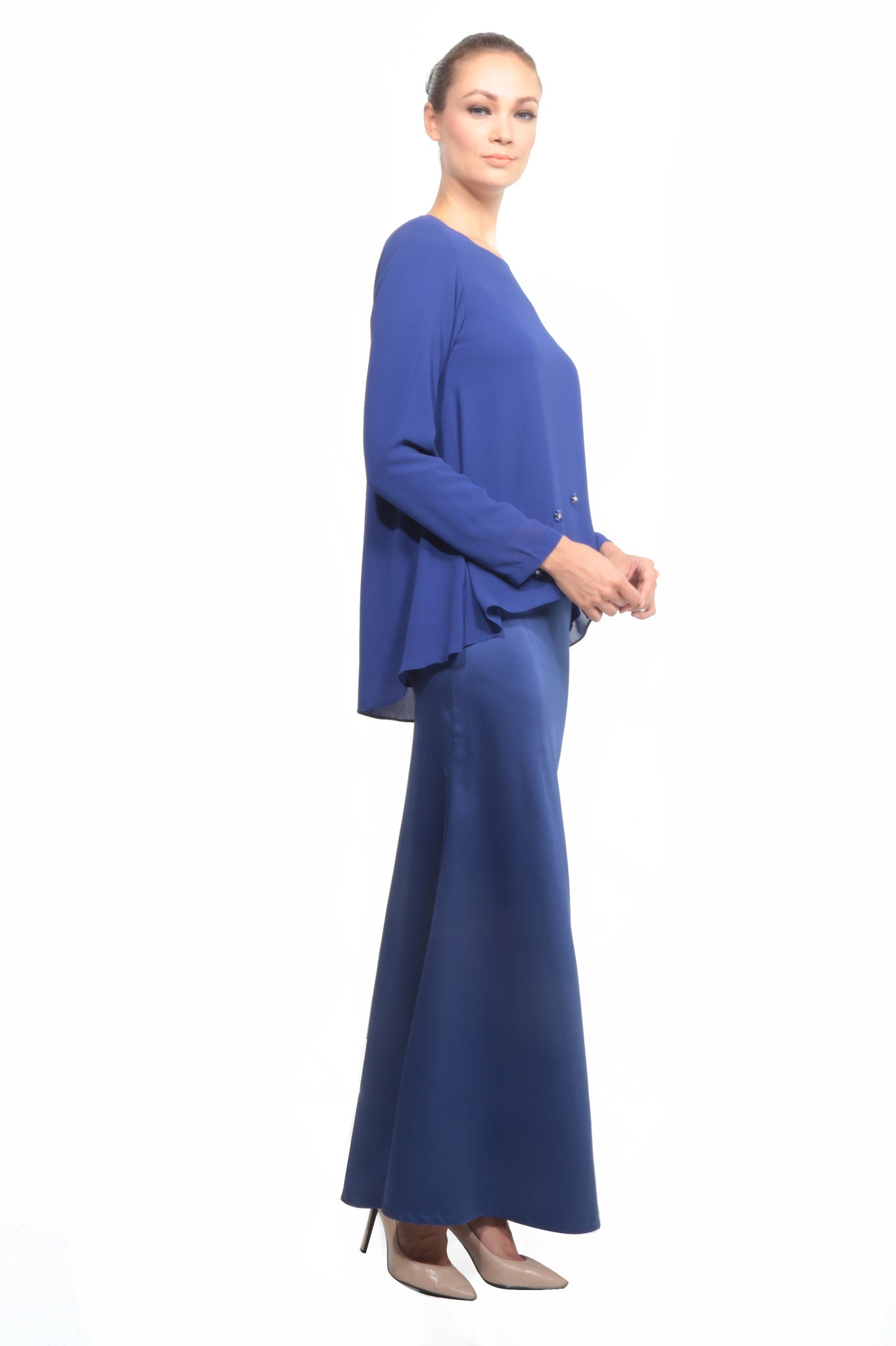 Chiffon Baju Kurung in Royal Blue