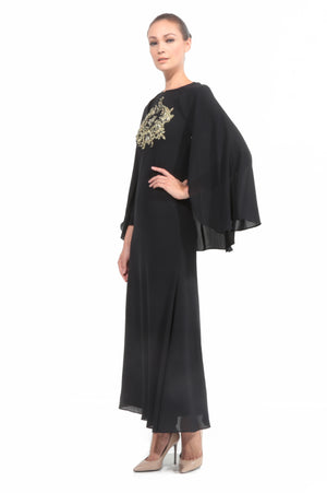 Chiffon Dress With Cape in Black
