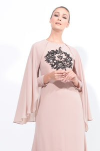 Chiffon Dress With Cape in Nude