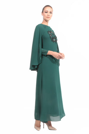Chiffon Dress with Cape in Emerald Green