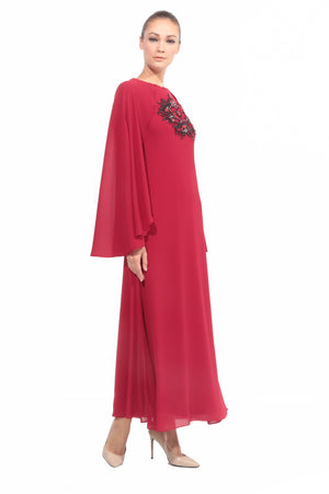 Chiffon Dress with Cape in Red