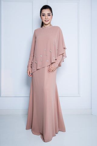 Chiffon Dress with Midi Drape in Nude