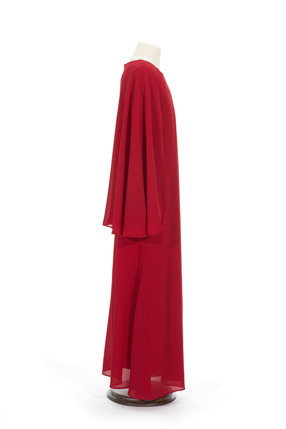 Petite Chiffon Dress with Cape in Red