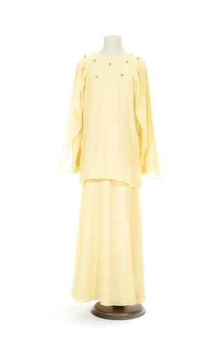 Petite Batwing Chiffon Top with Skirt in Light Yellow