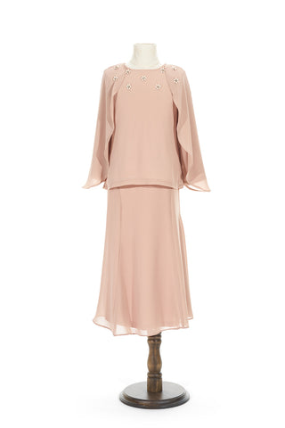 Petite Batwing Chiffon Top with Skirt in Nude