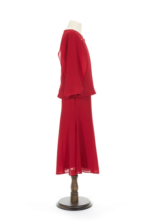 Petite Batwing Chiffon Top with Skirt in Red