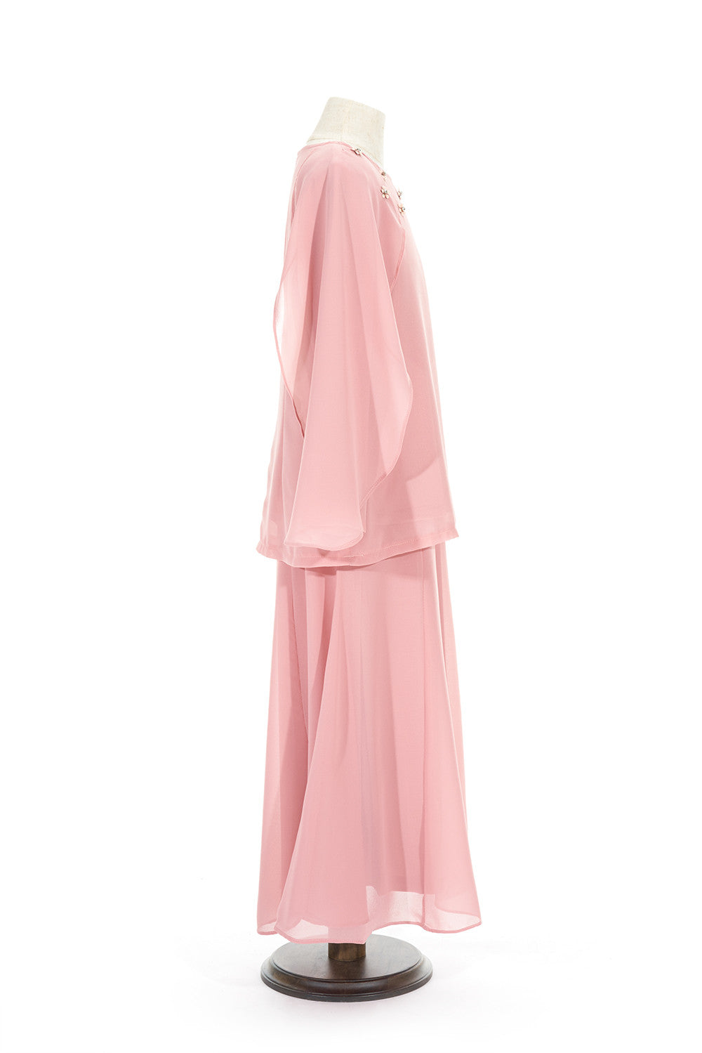 Petite Batwing Chiffon Top with Skirt in Dusty Pink