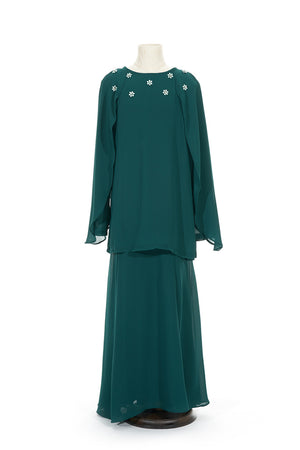 Petite Batwing Chiffon Top with Skirt in Emerald Green