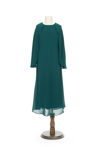 Petite Chiffon Dress with Cape in Emerald Green